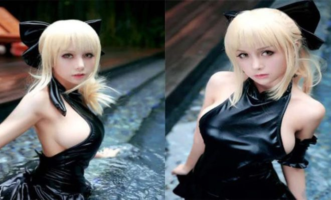 Saber Fate Stay Night Black Swimsuit Cosplay
