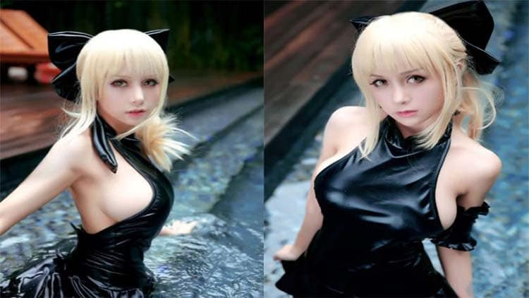 Photo of Saber Fate Stay Night Black Swimsuit Cosplay dari Natsu Kimoe